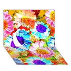 Colorful Daisy Garden Heart 3d Greeting Card (7x5)