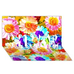 Colorful Daisy Garden #1 Mom 3d Greeting Cards (8x4) by DanaeStudio