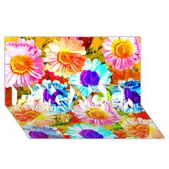 Colorful Daisy Garden Engaged 3d Greeting Card (8x4) by DanaeStudio