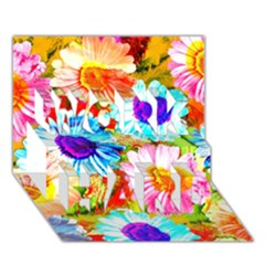 Colorful Daisy Garden Work Hard 3d Greeting Card (7x5) by DanaeStudio