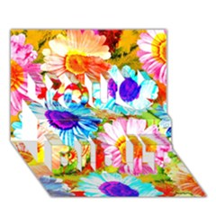 Colorful Daisy Garden You Did It 3d Greeting Card (7x5) by DanaeStudio