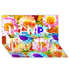 Colorful Daisy Garden Happy New Year 3d Greeting Card (8x4)