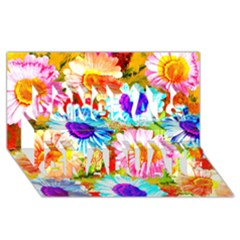 Colorful Daisy Garden Congrats Graduate 3d Greeting Card (8x4) by DanaeStudio