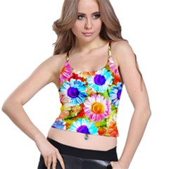 Colorful Daisy Garden Spaghetti Strap Bra Top by DanaeStudio