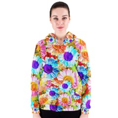 Colorful Daisy Garden Women s Zipper Hoodie