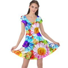 Colorful Daisy Garden Cap Sleeve Dresses by DanaeStudio