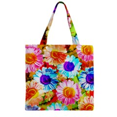 Colorful Daisy Garden Zipper Grocery Tote Bag by DanaeStudio