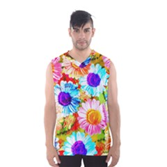 Colorful Daisy Garden Men s Basketball Tank Top by DanaeStudio
