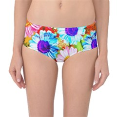 Colorful Daisy Garden Mid Waist Bikini Bottoms by DanaeStudio