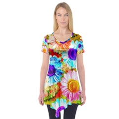 Colorful Daisy Garden Short Sleeve Tunic  by DanaeStudio