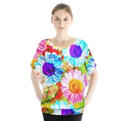 Colorful Daisy Garden Blouse by DanaeStudio