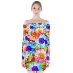 Colorful Daisy Garden Long Sleeve Off Shoulder Dress by DanaeStudio