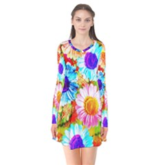 Colorful Daisy Garden Flare Dress