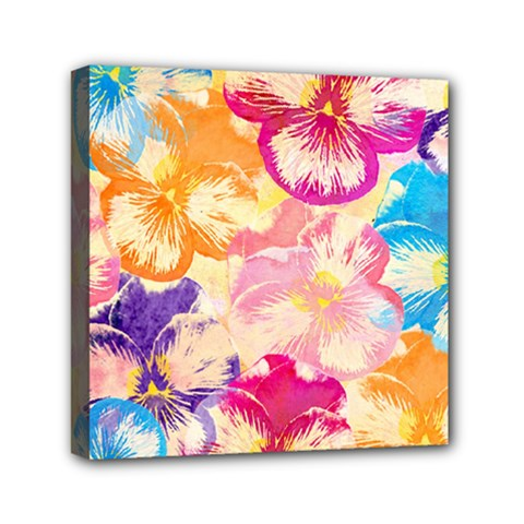 Colorful Pansies Field Mini Canvas 6  X 6  by DanaeStudio