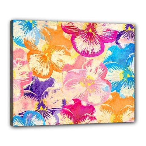 Colorful Pansies Field Canvas 20  X 16  by DanaeStudio