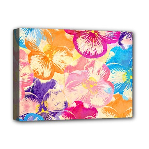 Colorful Pansies Field Deluxe Canvas 16  X 12   by DanaeStudio