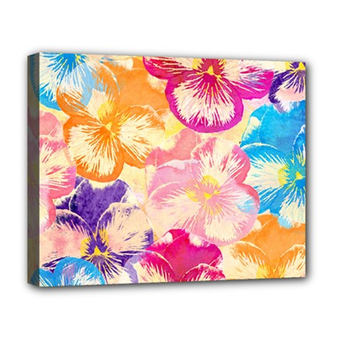 Colorful Pansies Field Deluxe Canvas 20  X 16