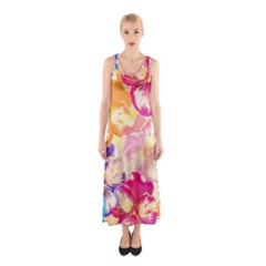 Colorful Pansies Field Sleeveless Maxi Dress