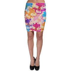 Colorful Pansies Field Bodycon Skirt