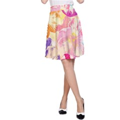 Colorful Pansies Field A-line Skirt by DanaeStudio