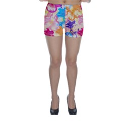 Colorful Pansies Field Skinny Shorts