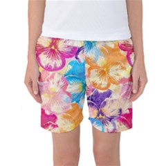 Colorful Pansies Field Women s Basketball Shorts