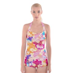 Colorful Pansies Field Boyleg Halter Swimsuit