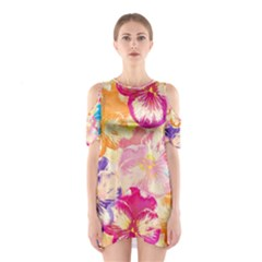 Colorful Pansies Field Cutout Shoulder Dress