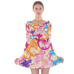 Colorful Pansies Field Long Sleeve Velvet Skater Dress