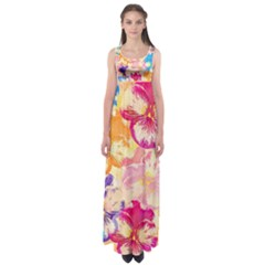 Colorful Pansies Field Empire Waist Maxi Dress