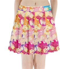Colorful Pansies Field Pleated Mini Skirt