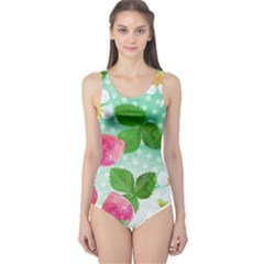 Cute Strawberries Pattern One Piece Swimsuit