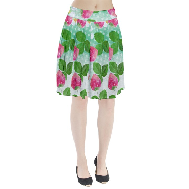 Cute Strawberries Pattern Pleated Skirt