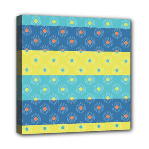 Hexagon And Stripes Pattern Mini Canvas 8  X 8  by DanaeStudio