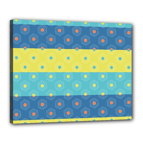 Hexagon And Stripes Pattern Canvas 20  X 16  by DanaeStudio