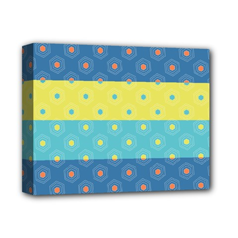 Hexagon And Stripes Pattern Deluxe Canvas 14  X 11  by DanaeStudio