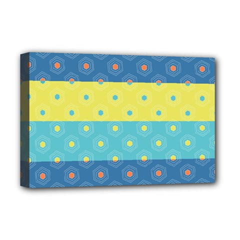 Hexagon And Stripes Pattern Deluxe Canvas 18  X 12   by DanaeStudio
