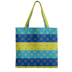 Hexagon And Stripes Pattern Zipper Grocery Tote Bag by DanaeStudio