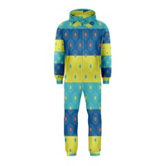 Hexagon And Stripes Pattern Hooded Jumpsuit (kids)