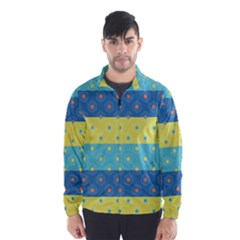 Hexagon And Stripes Pattern Wind Breaker (men)