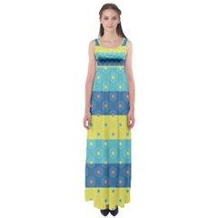 Hexagon And Stripes Pattern Empire Waist Maxi Dress