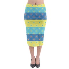 Hexagon And Stripes Pattern Midi Pencil Skirt
