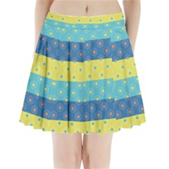 Hexagon And Stripes Pattern Pleated Mini Skirt