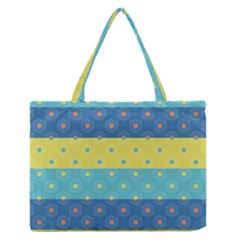 Hexagon And Stripes Pattern Medium Zipper Tote Bag