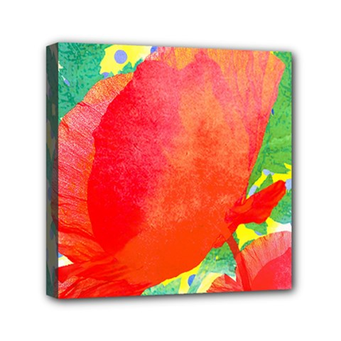 Lovely Red Poppy And Blue Dots Mini Canvas 6  X 6