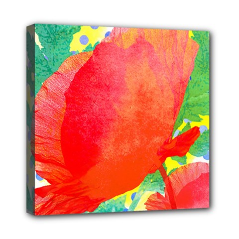 Lovely Red Poppy And Blue Dots Mini Canvas 8  X 8