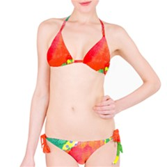 Lovely Red Poppy And Blue Dots Bikini Set