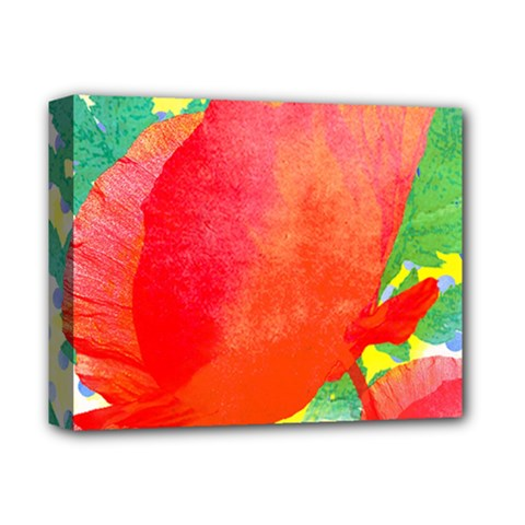 Lovely Red Poppy And Blue Dots Deluxe Canvas 14  X 11
