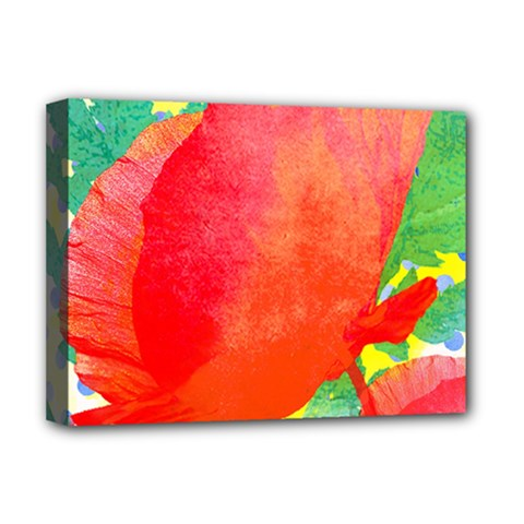 Lovely Red Poppy And Blue Dots Deluxe Canvas 16  X 12