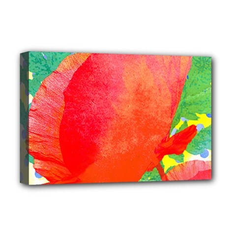 Lovely Red Poppy And Blue Dots Deluxe Canvas 18  X 12